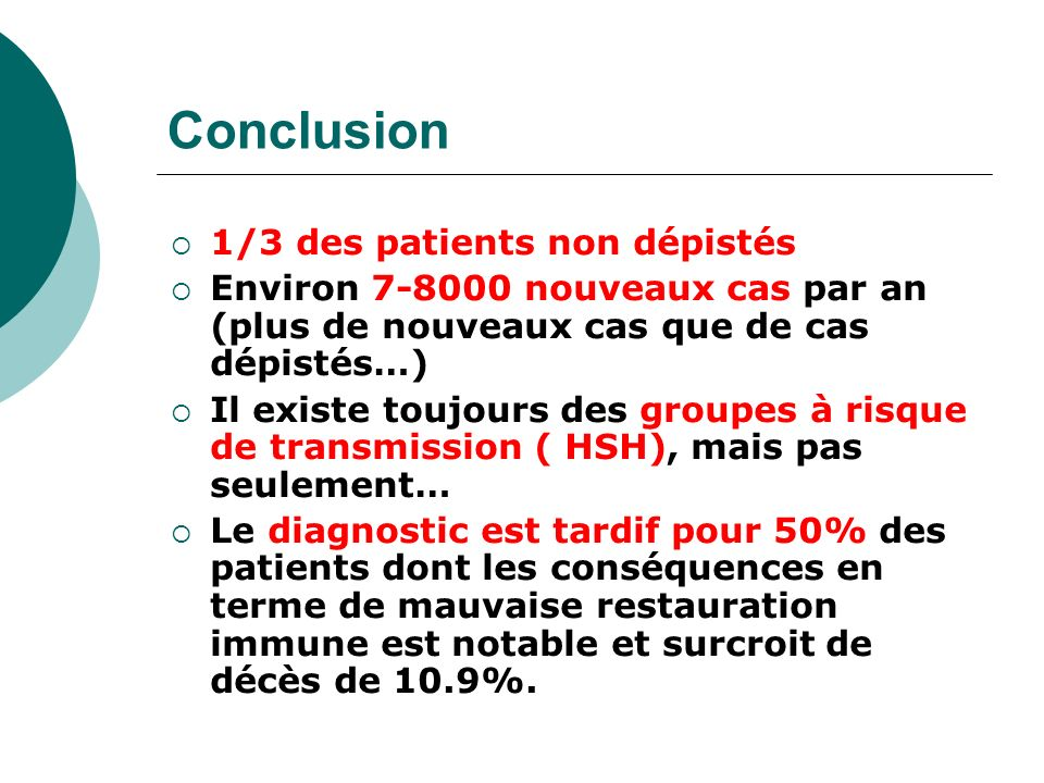 Conclusion 1/3 des patients non dépistés