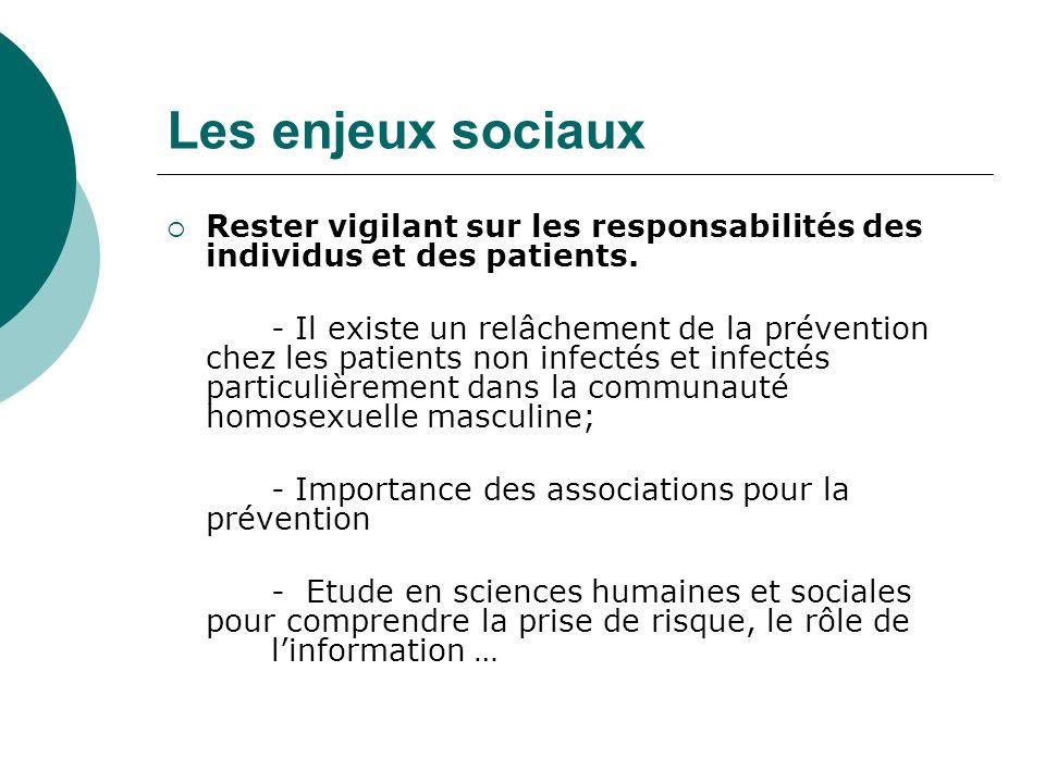 Les enjeux sociaux Rester vigilant sur les responsabilités des individus et des patients.