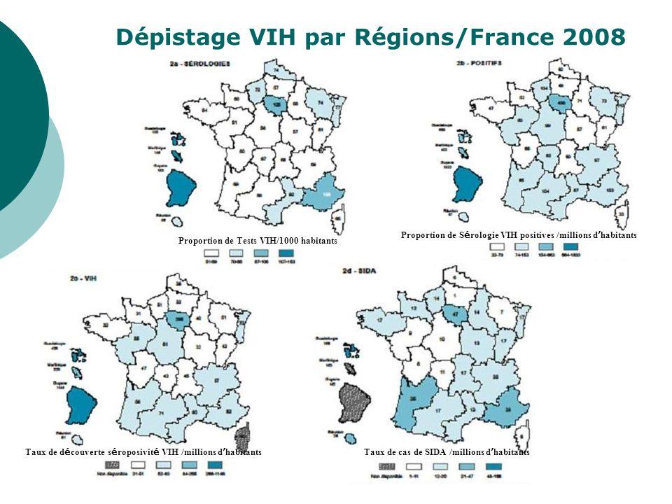 Dépistage VIH par Régions/France 2008