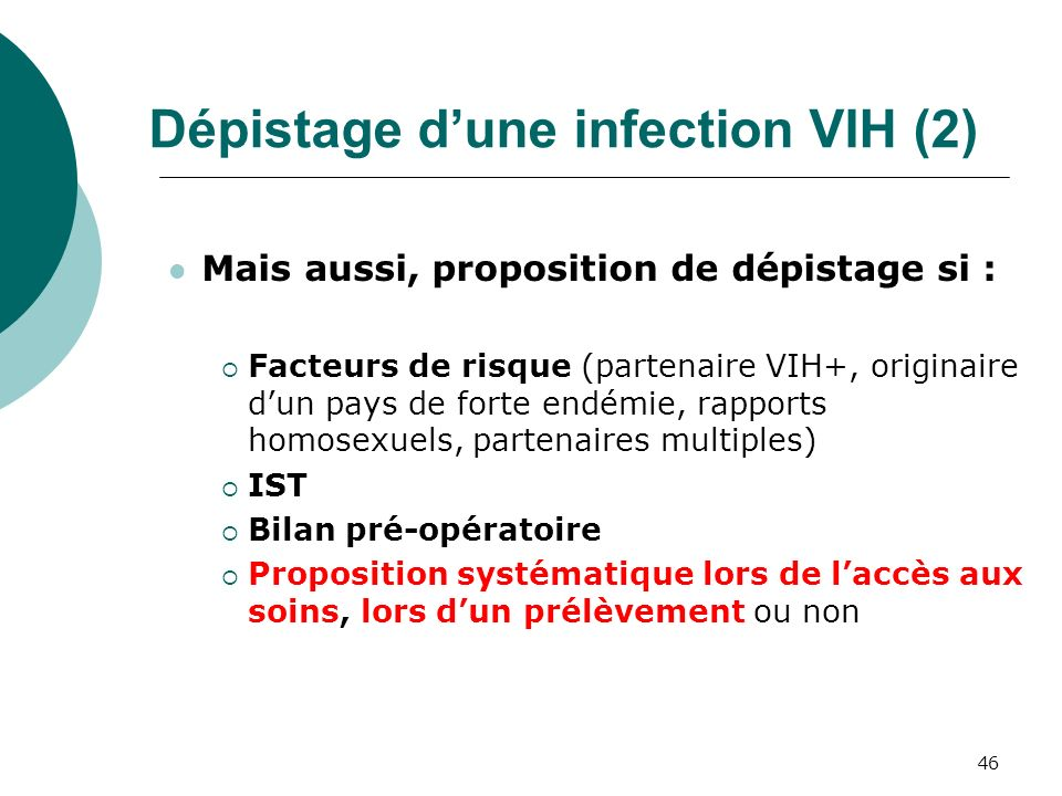 Dépistage d'une infection VIH (2)