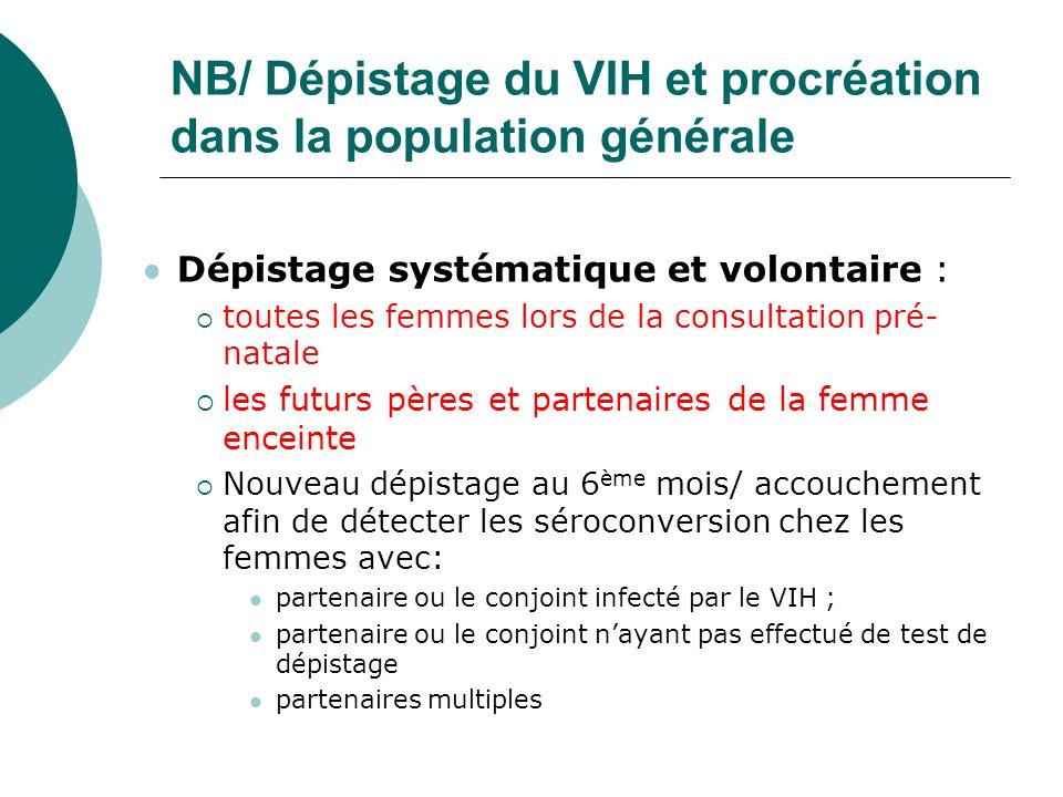 NB/ Dépistage du VIH et procréation dans la population générale