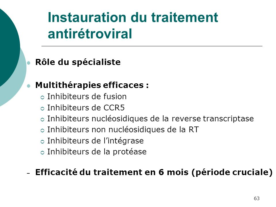 Instauration du traitement antirétroviral