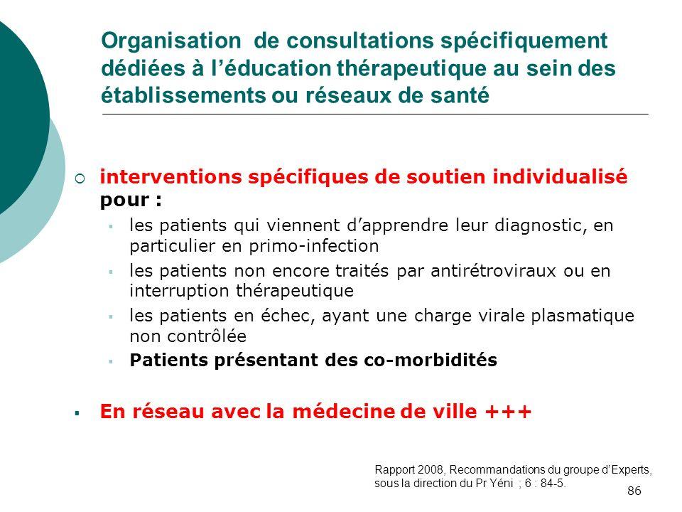 Organisation de consultations spécifiquement dédiées à l'éducation thérapeutique au sein des établissements ou réseaux de santé