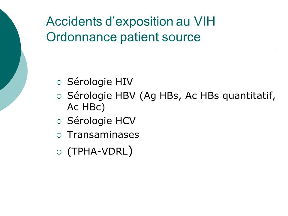 Accidents d'exposition au VIH Ordonnance patient source