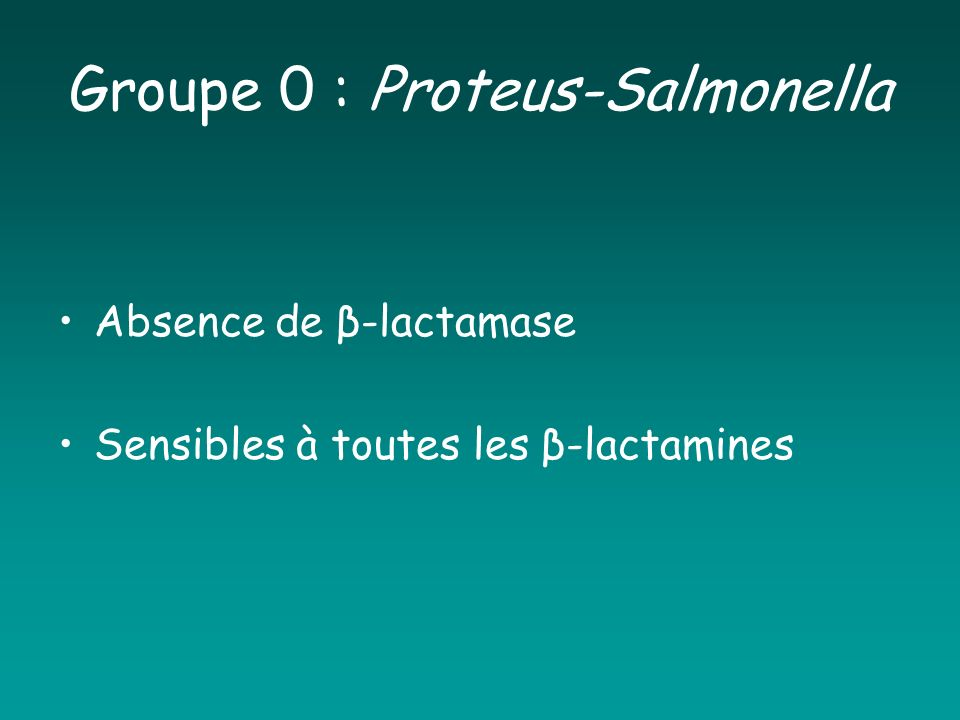 Groupe 0 : Proteus-Salmonella