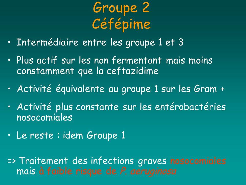 Groupe 2 Céfépime Intermédiaire entre les groupe 1 et 3