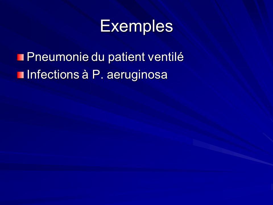Exemples Pneumonie du patient ventilé Infections à P. aeruginosa