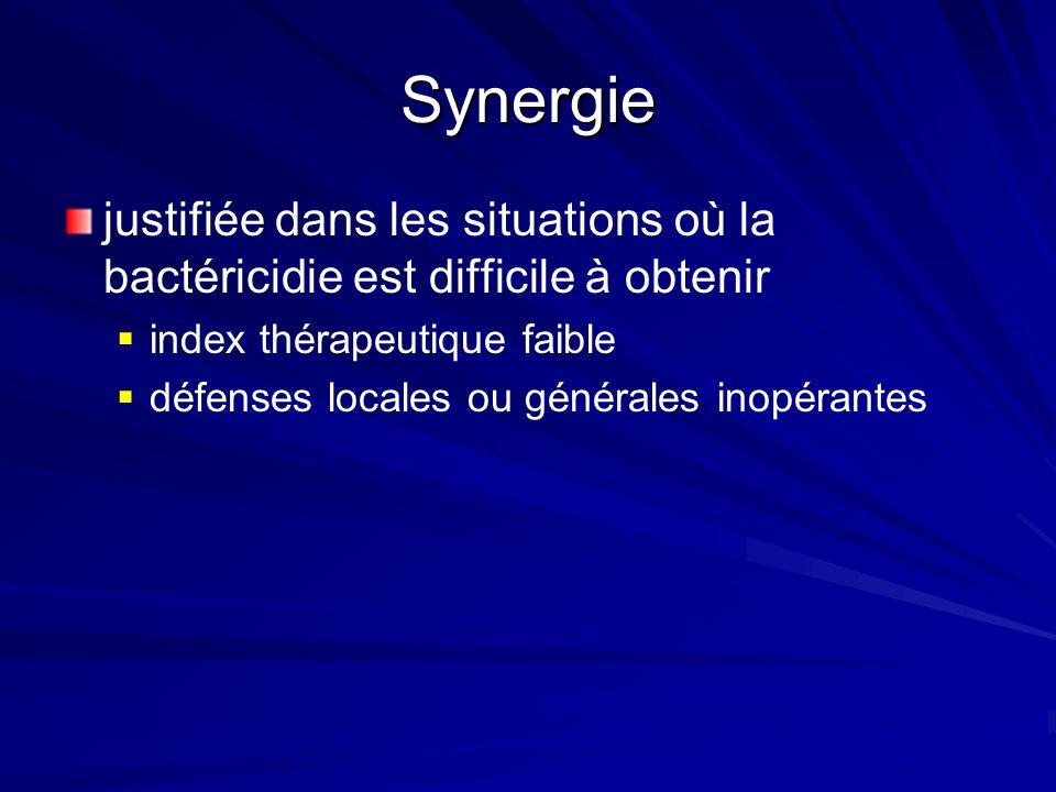 Synergie justifiée dans les situations où la bactéricidie est difficile à obtenir. index thérapeutique faible.