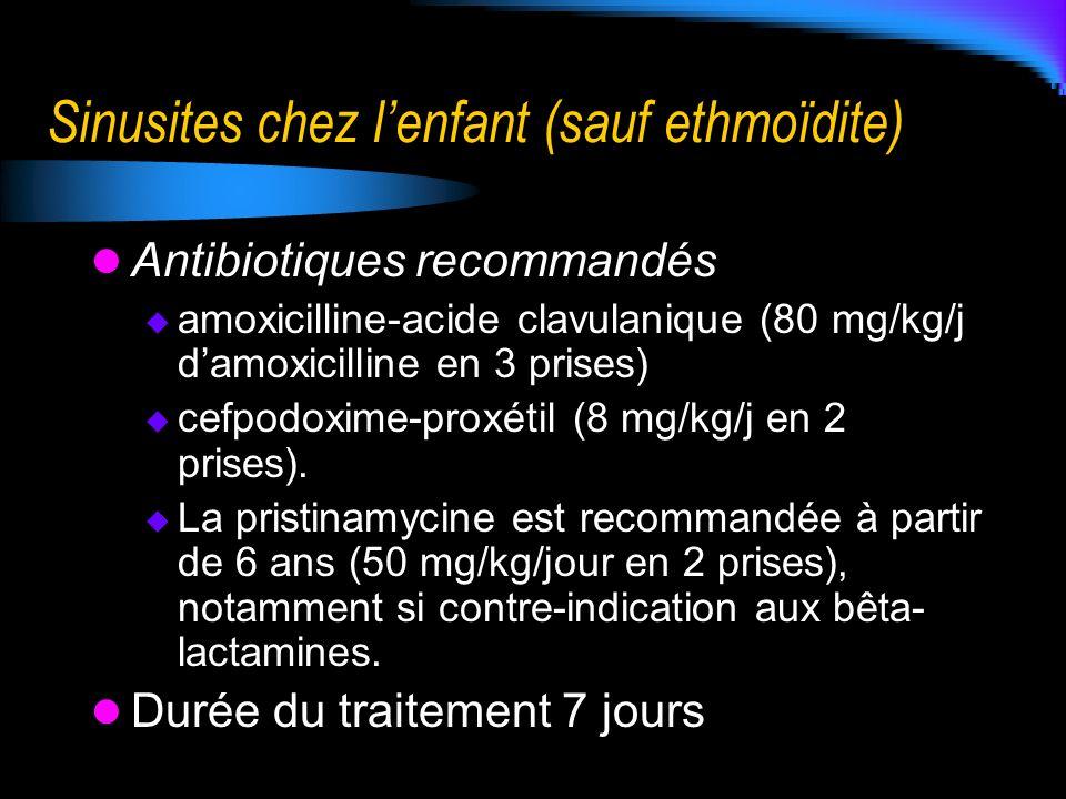 Sinusites chez l'enfant (sauf ethmoïdite)