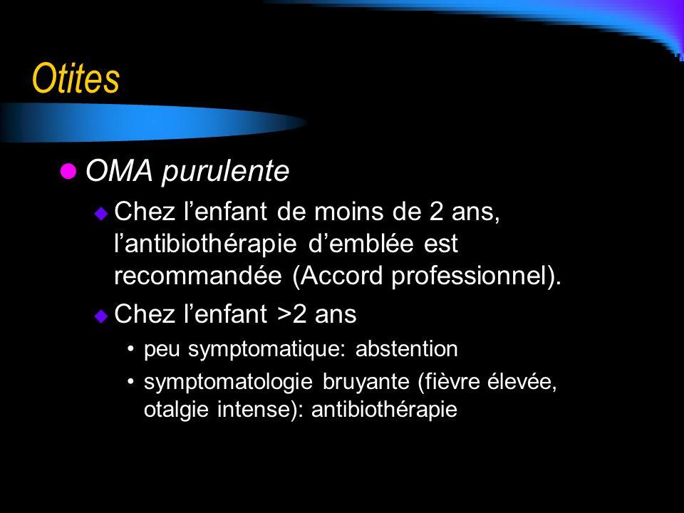 Otites OMA purulente. Chez l'enfant de moins de 2 ans, l'antibiothérapie d'emblée est recommandée (Accord professionnel).