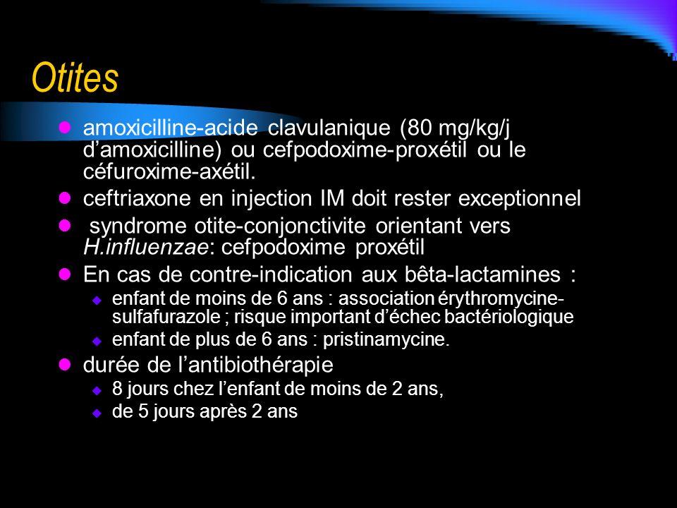 Otites amoxicilline-acide clavulanique (80 mg/kg/j d'amoxicilline) ou cefpodoxime-proxétil ou le céfuroxime-axétil.