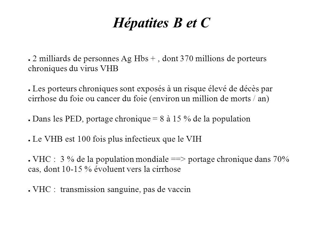 Hépatites B et C 2 milliards de personnes Ag Hbs + , dont 370 millions de porteurs chroniques du virus VHB.