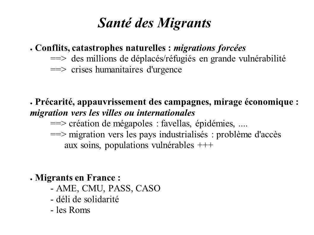 Santé des Migrants Conflits, catastrophes naturelles : migrations forcées. ==> des millions de déplacés/réfugiés en grande vulnérabilité.