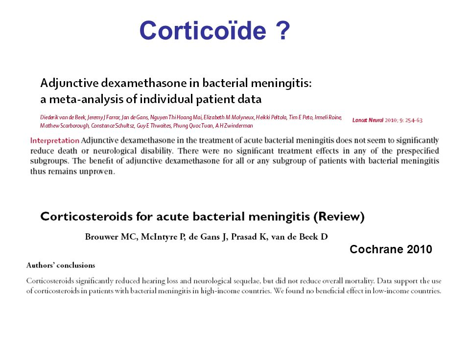 Corticoïde Cochrane 2010