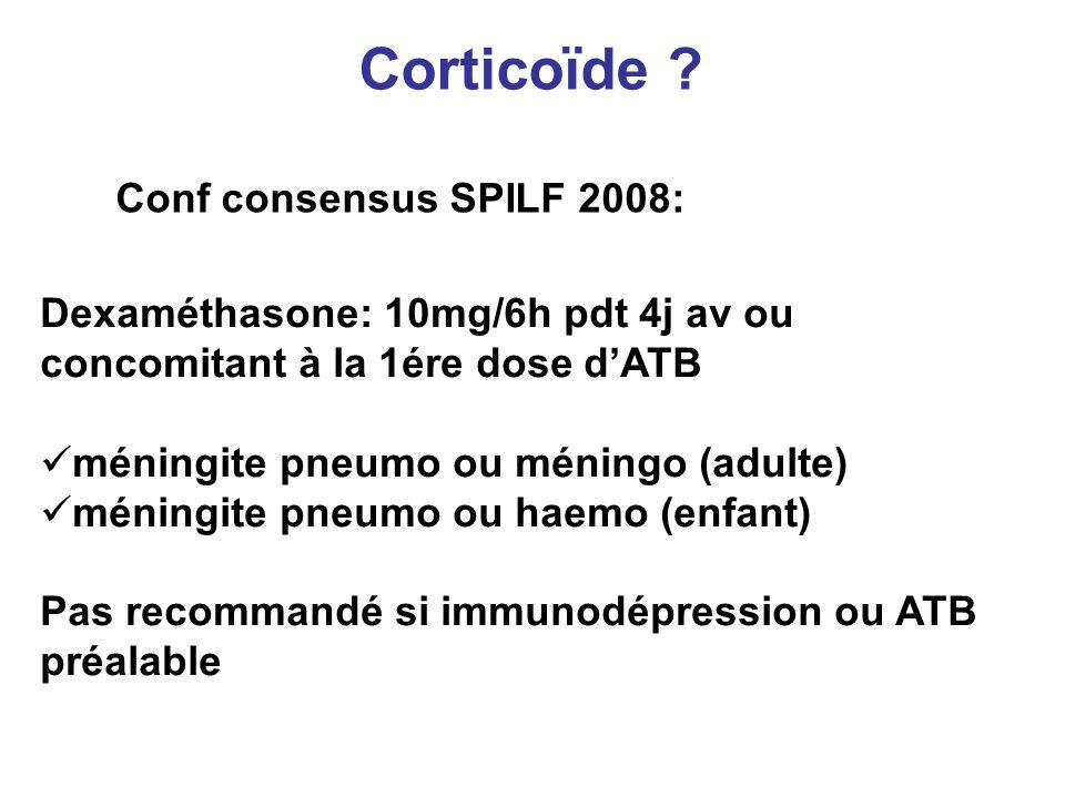 Corticoïde Conf consensus SPILF 2008: