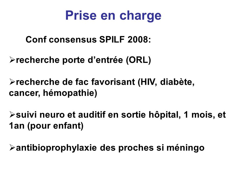Prise en charge Conf consensus SPILF 2008: