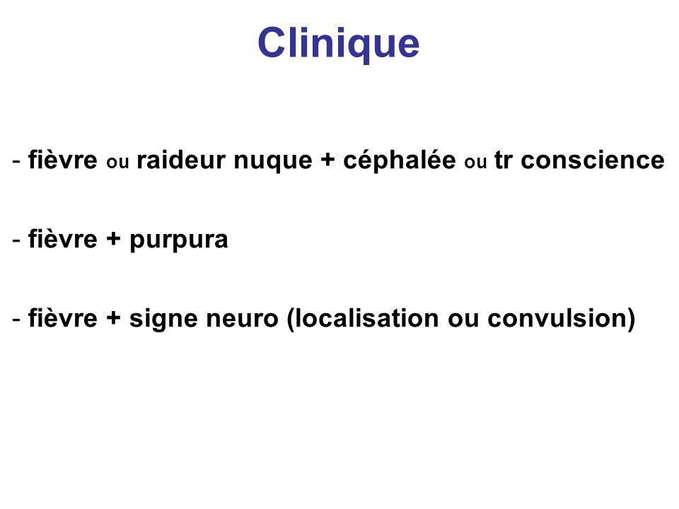 Clinique fièvre ou raideur nuque + céphalée ou tr conscience