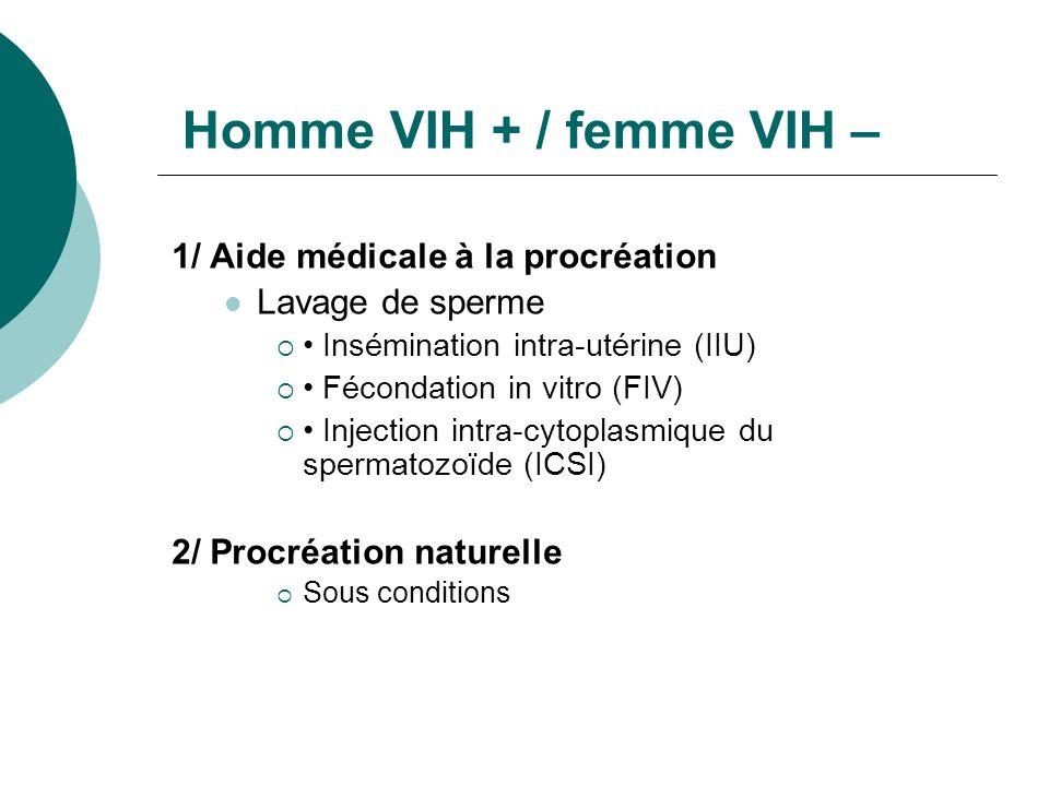 Homme VIH + / femme VIH – 1/ Aide médicale à la procréation