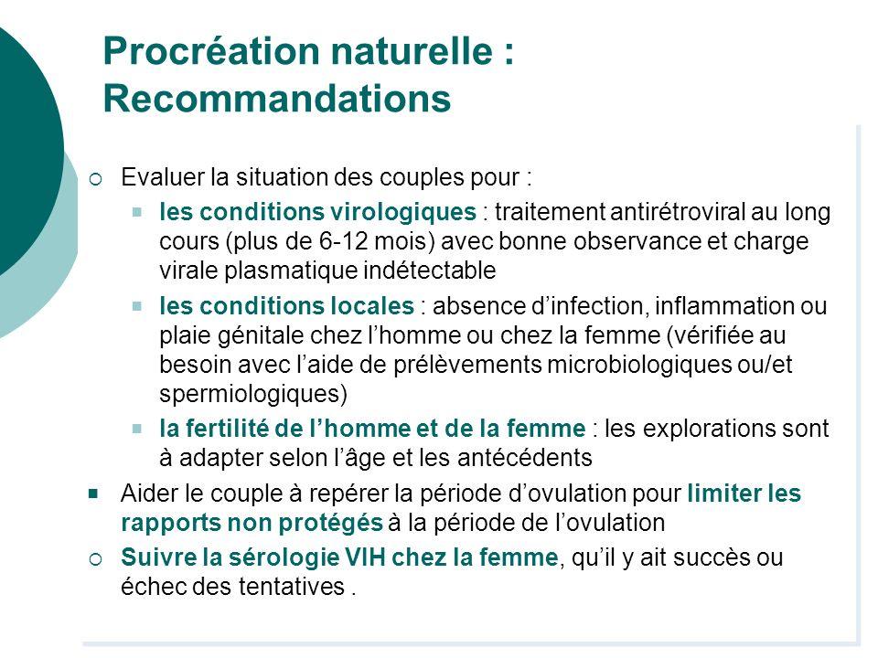 Procréation naturelle : Recommandations