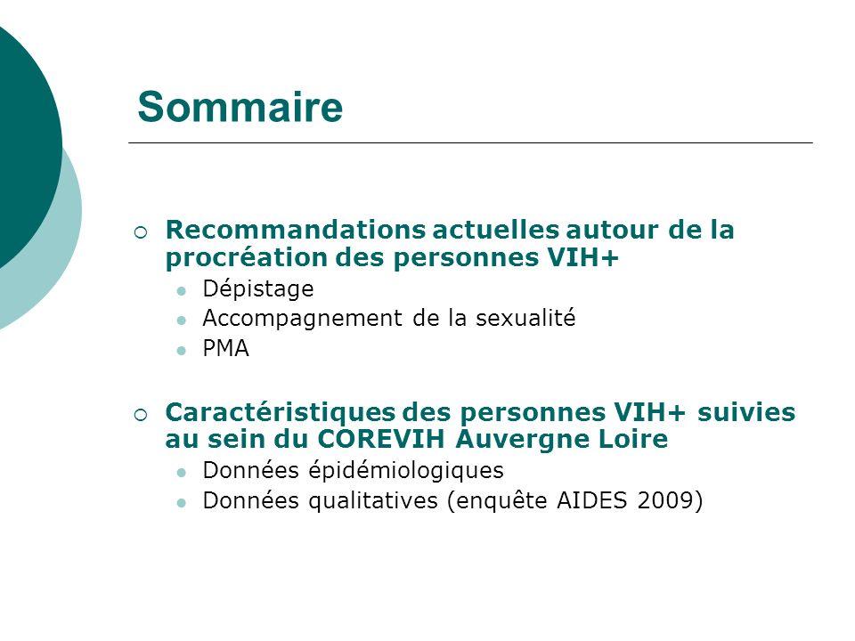 Sommaire Recommandations actuelles autour de la procréation des personnes VIH+ Dépistage. Accompagnement de la sexualité.