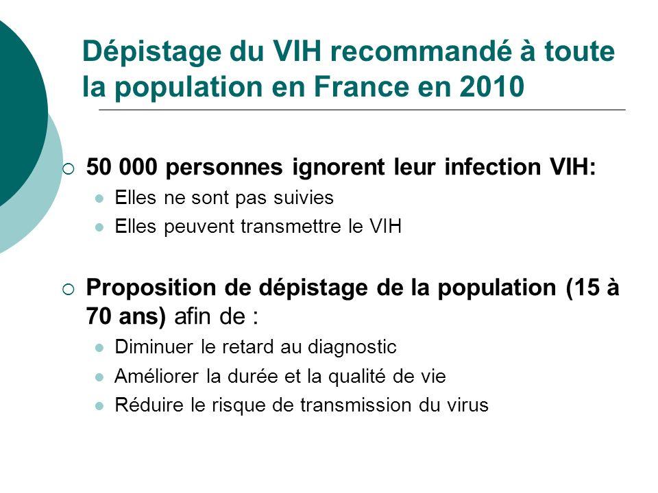 Dépistage du VIH recommandé à toute la population en France en 2010