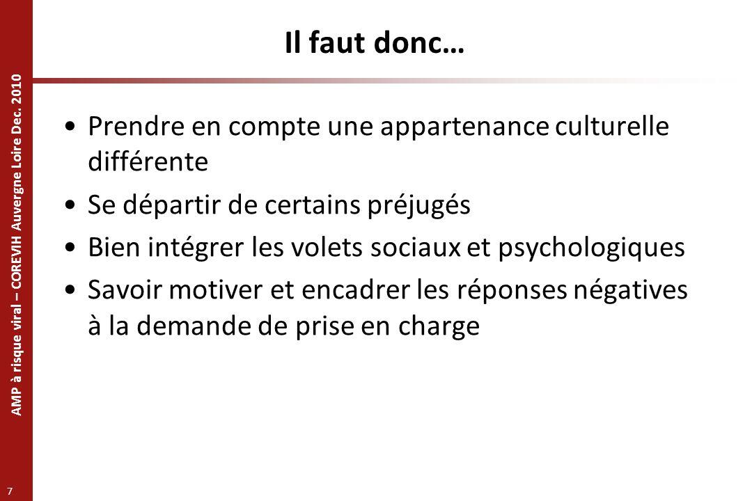 Il faut donc… Prendre en compte une appartenance culturelle différente