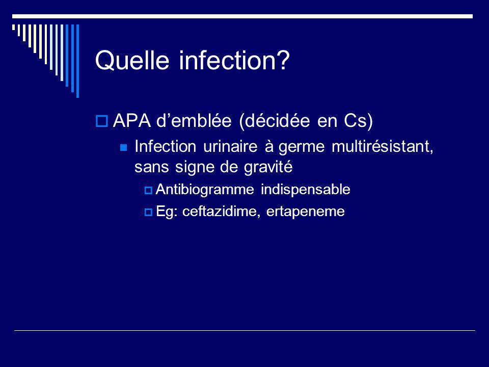 Quelle infection APA d'emblée (décidée en Cs)