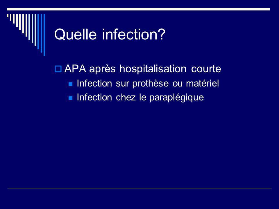 Quelle infection APA après hospitalisation courte