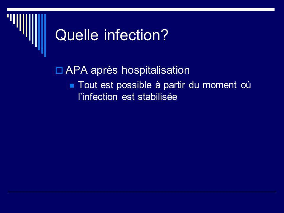 Quelle infection APA après hospitalisation