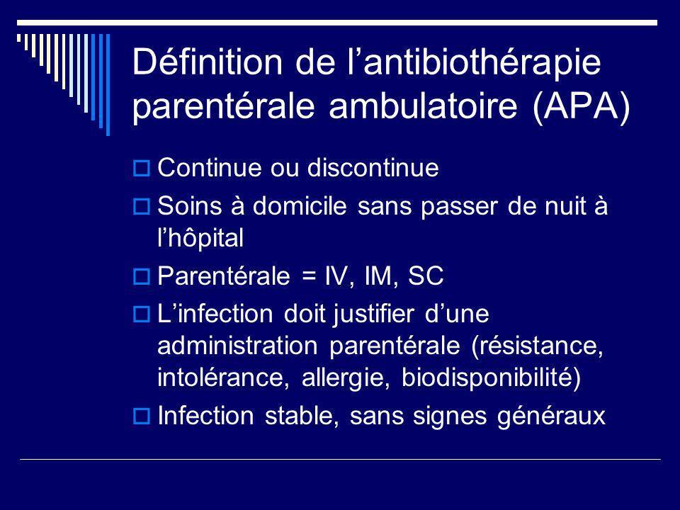 Définition de l'antibiothérapie parentérale ambulatoire (APA)