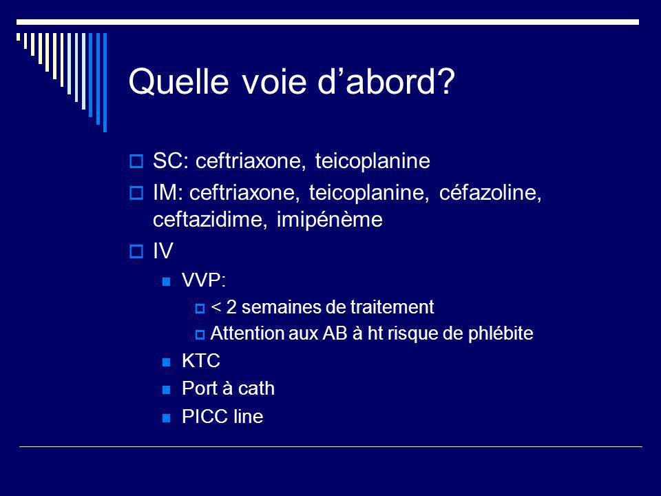 Quelle voie d'abord SC: ceftriaxone, teicoplanine
