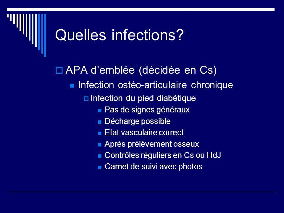 Quelles infections APA d'emblée (décidée en Cs)