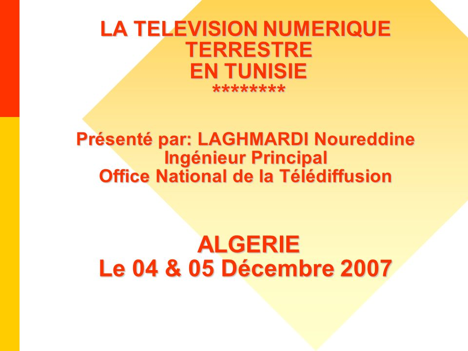 LA TELEVISION NUMERIQUE TERRESTRE EN TUNISIE