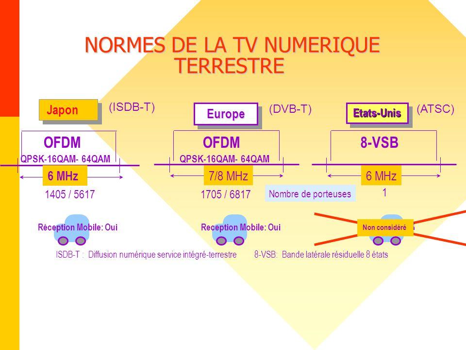 NORMES DE LA TV NUMERIQUE TERRESTRE