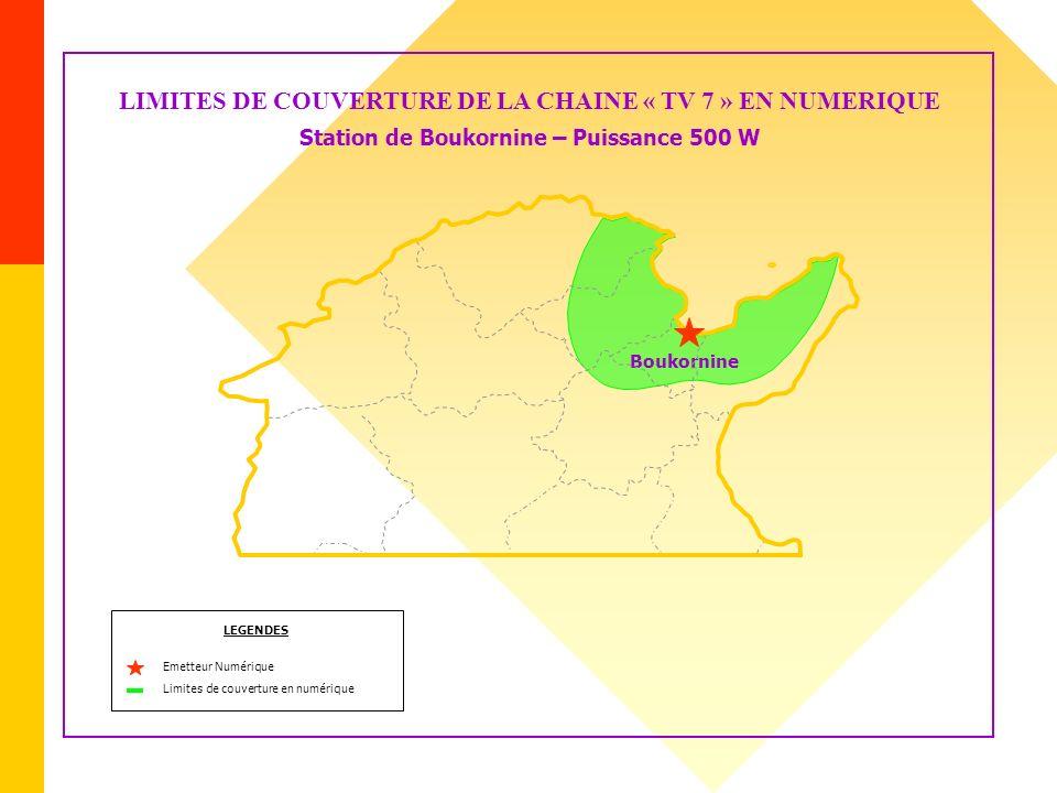LIMITES DE COUVERTURE DE LA CHAINE « TV 7 » EN NUMERIQUE