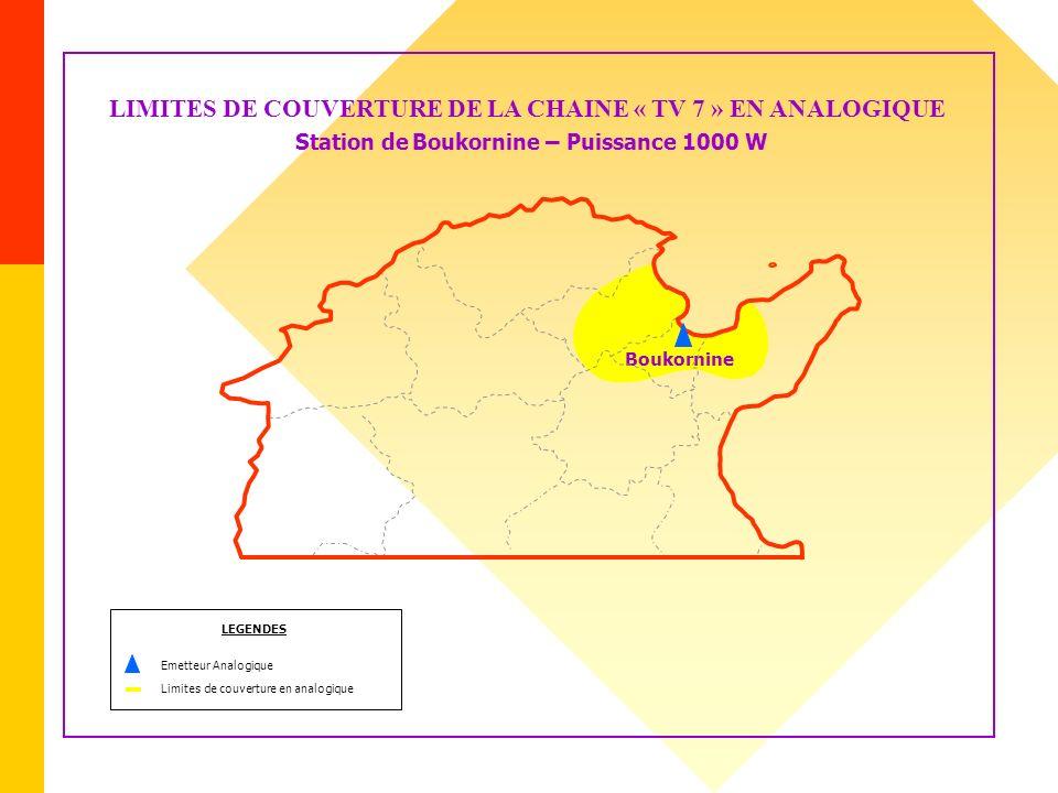 LIMITES DE COUVERTURE DE LA CHAINE « TV 7 » EN ANALOGIQUE