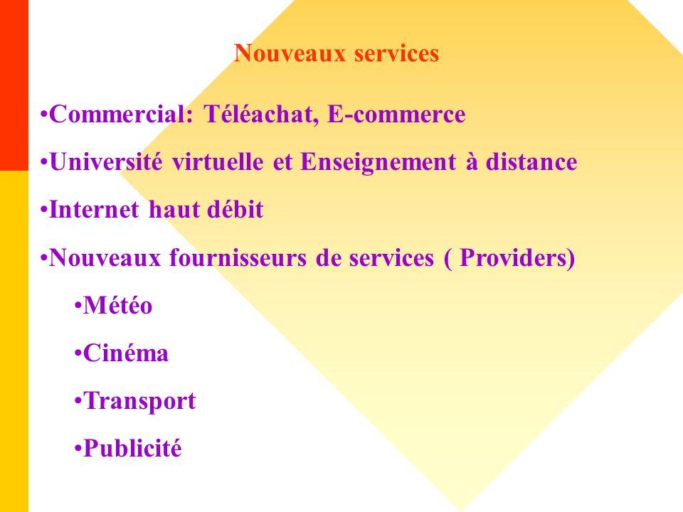 Nouveaux services Commercial: Téléachat, E-commerce. Université virtuelle et Enseignement à distance.
