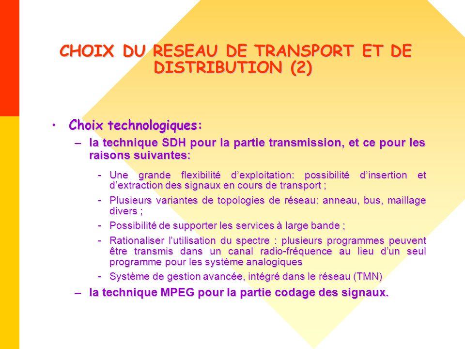 CHOIX DU RESEAU DE TRANSPORT ET DE DISTRIBUTION (2)