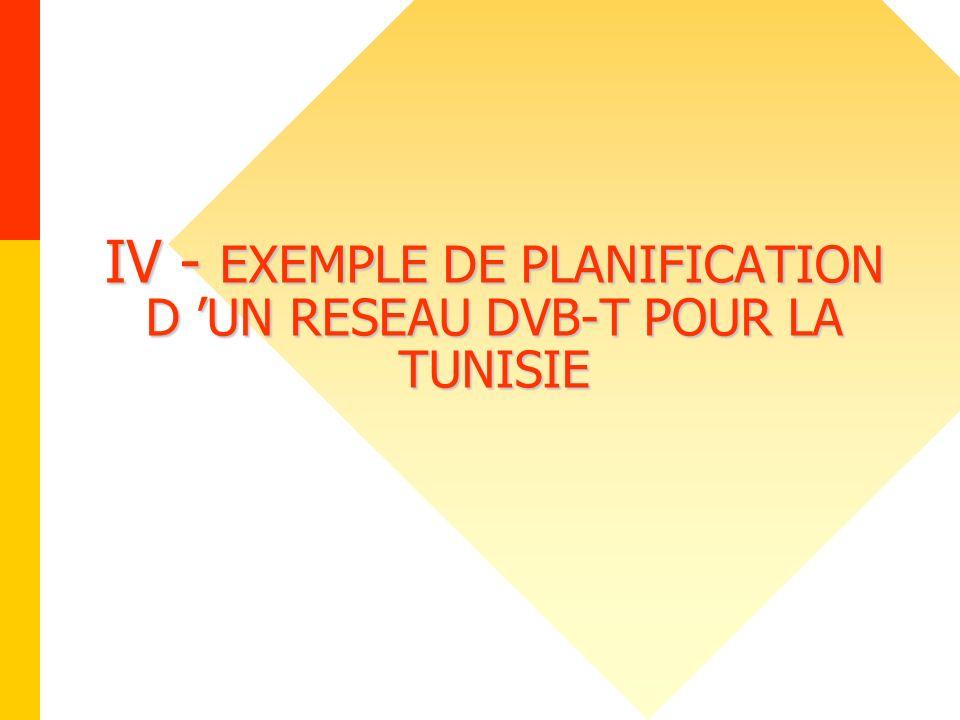 IV - EXEMPLE DE PLANIFICATION D 'UN RESEAU DVB-T POUR LA TUNISIE