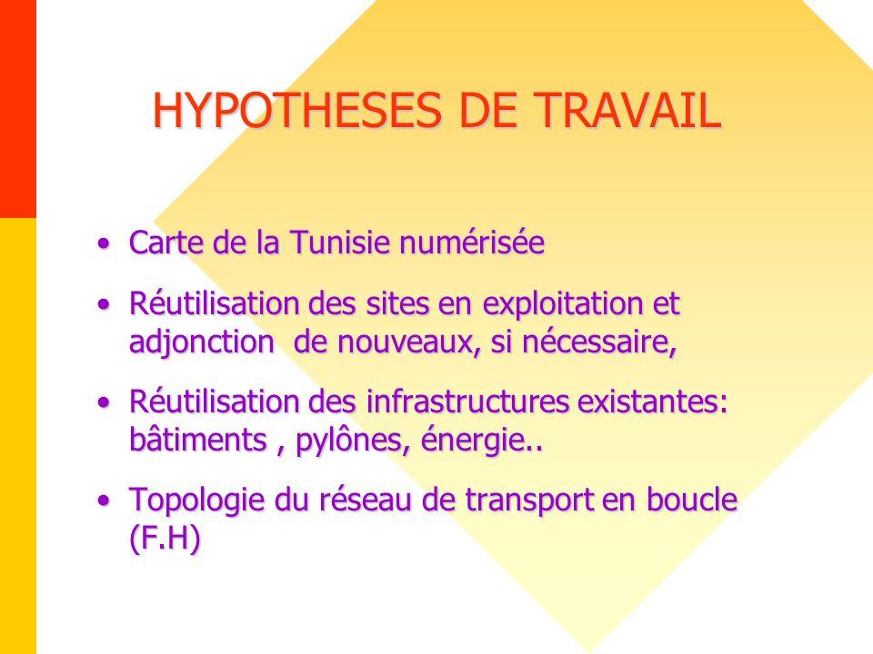 HYPOTHESES DE TRAVAIL Carte de la Tunisie numérisée