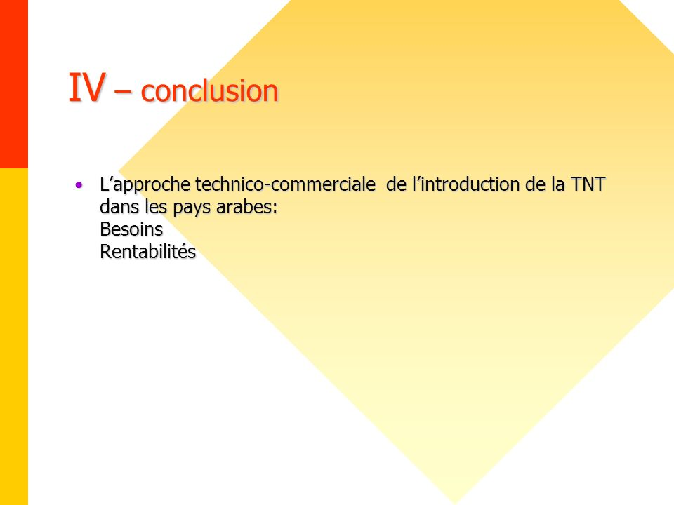 IV – conclusion L'approche technico-commerciale de l'introduction de la TNT dans les pays arabes: Besoins Rentabilités.