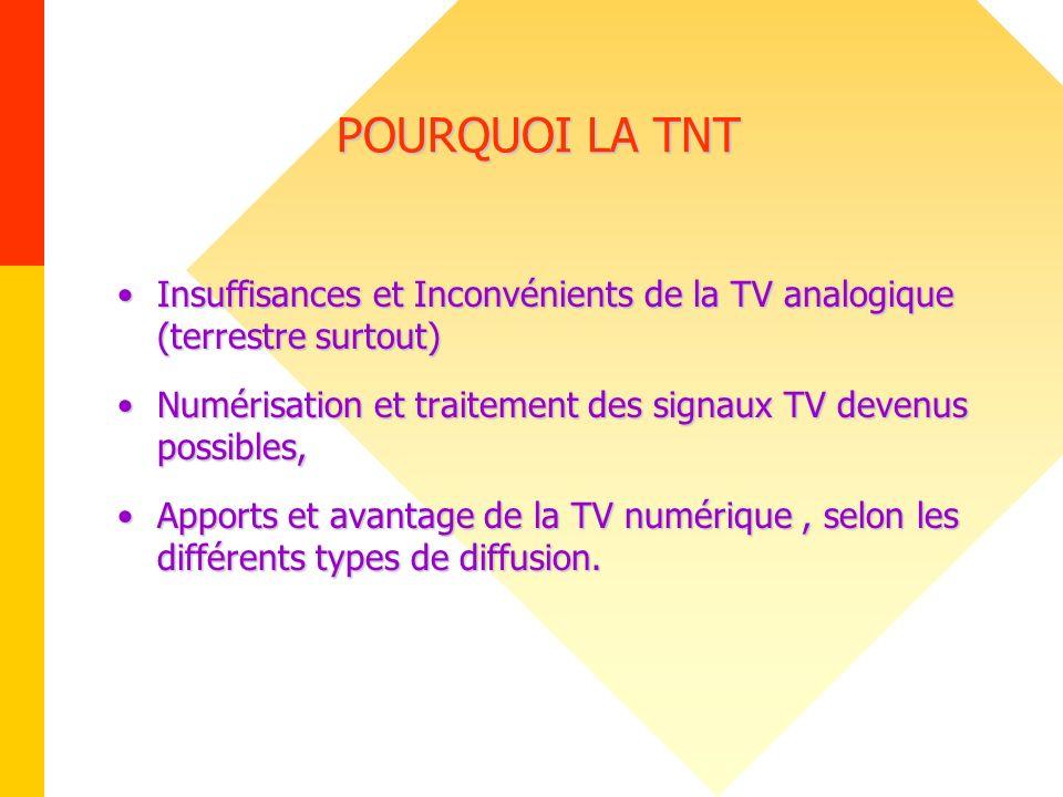 POURQUOI LA TNT Insuffisances et Inconvénients de la TV analogique (terrestre surtout)