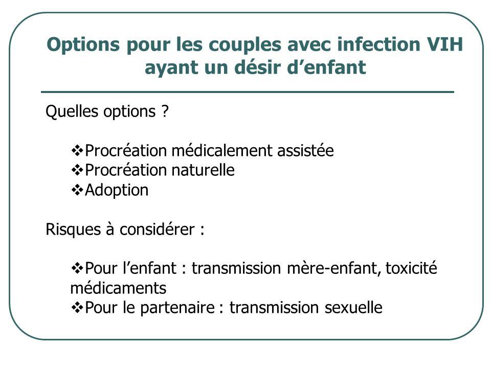 Options pour les couples avec infection VIH ayant un désir d'enfant