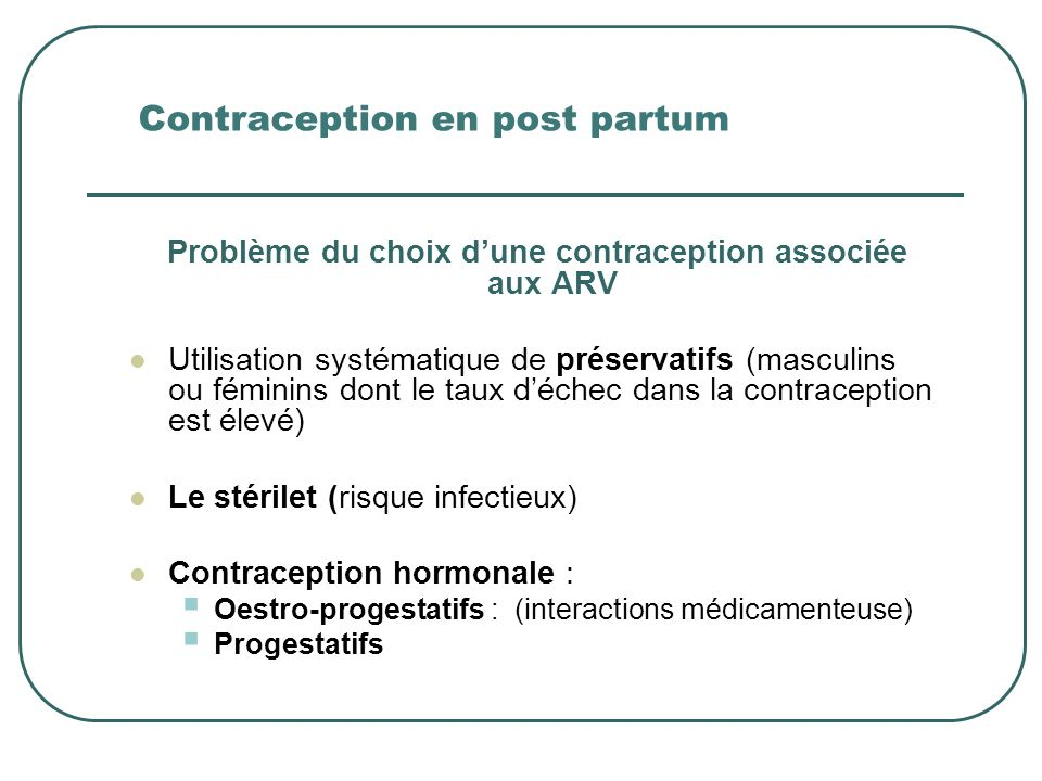 Contraception en post partum