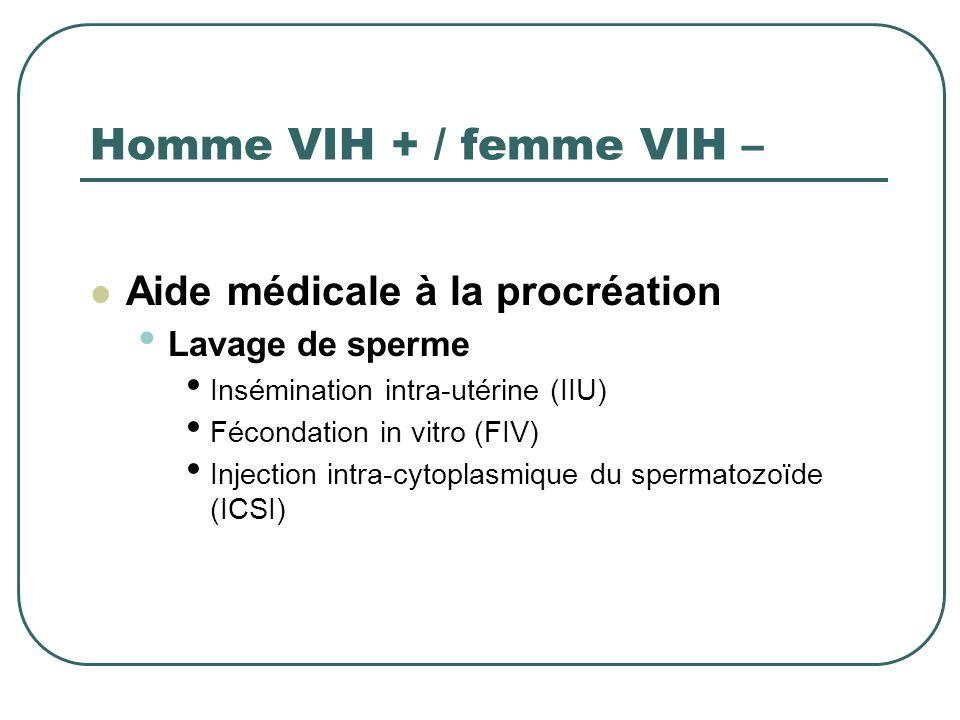 Homme VIH + / femme VIH – Aide médicale à la procréation