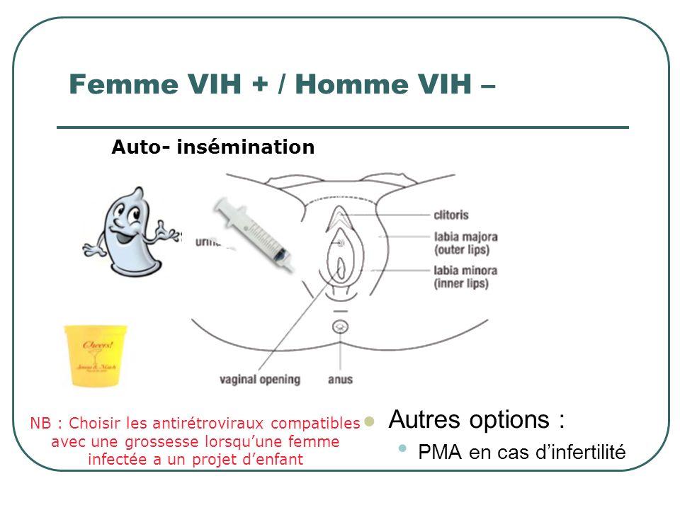 Femme VIH + / Homme VIH – Autres options : PMA en cas d'infertilité