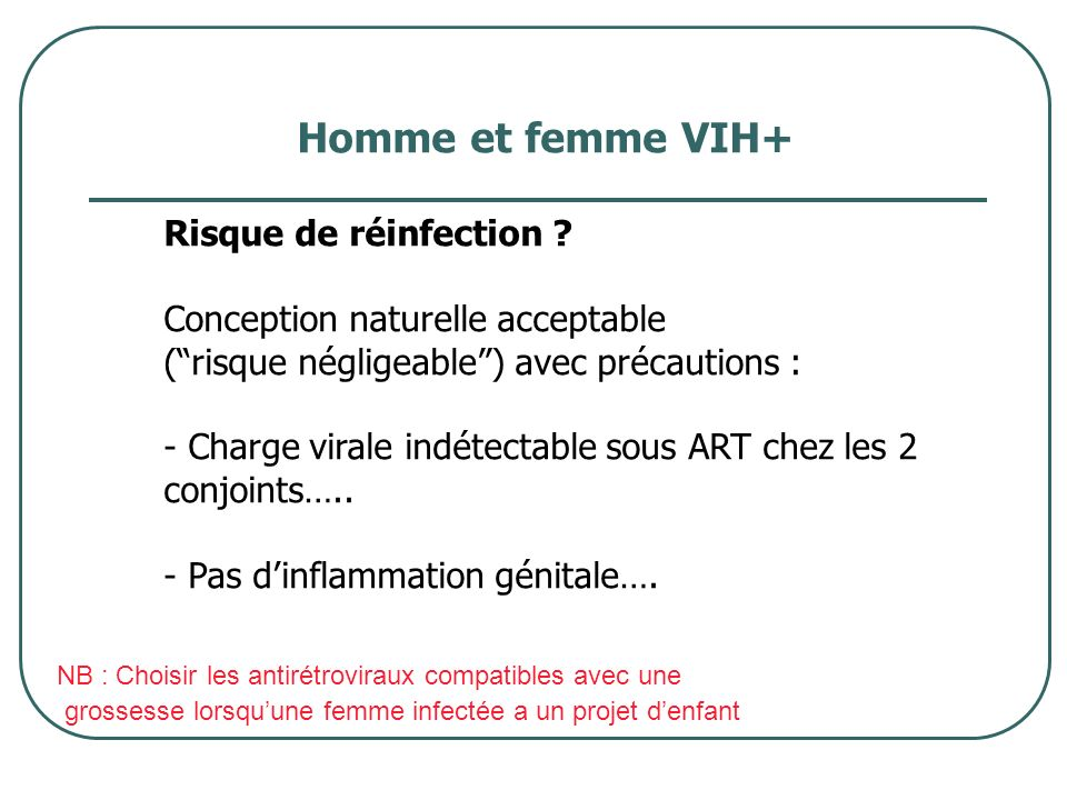 Homme et femme VIH+ Risque de réinfection
