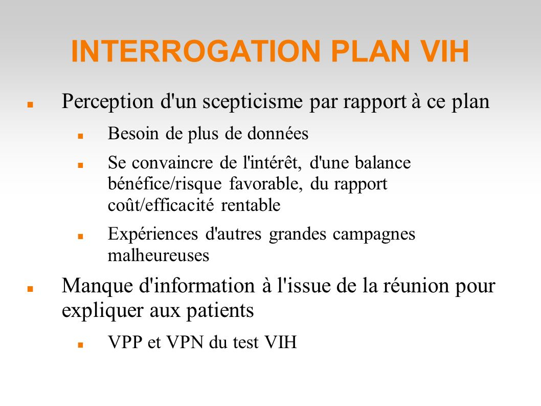 INTERROGATION PLAN VIH