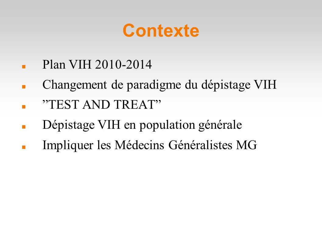 Contexte Plan VIH 2010-2014 Changement de paradigme du dépistage VIH