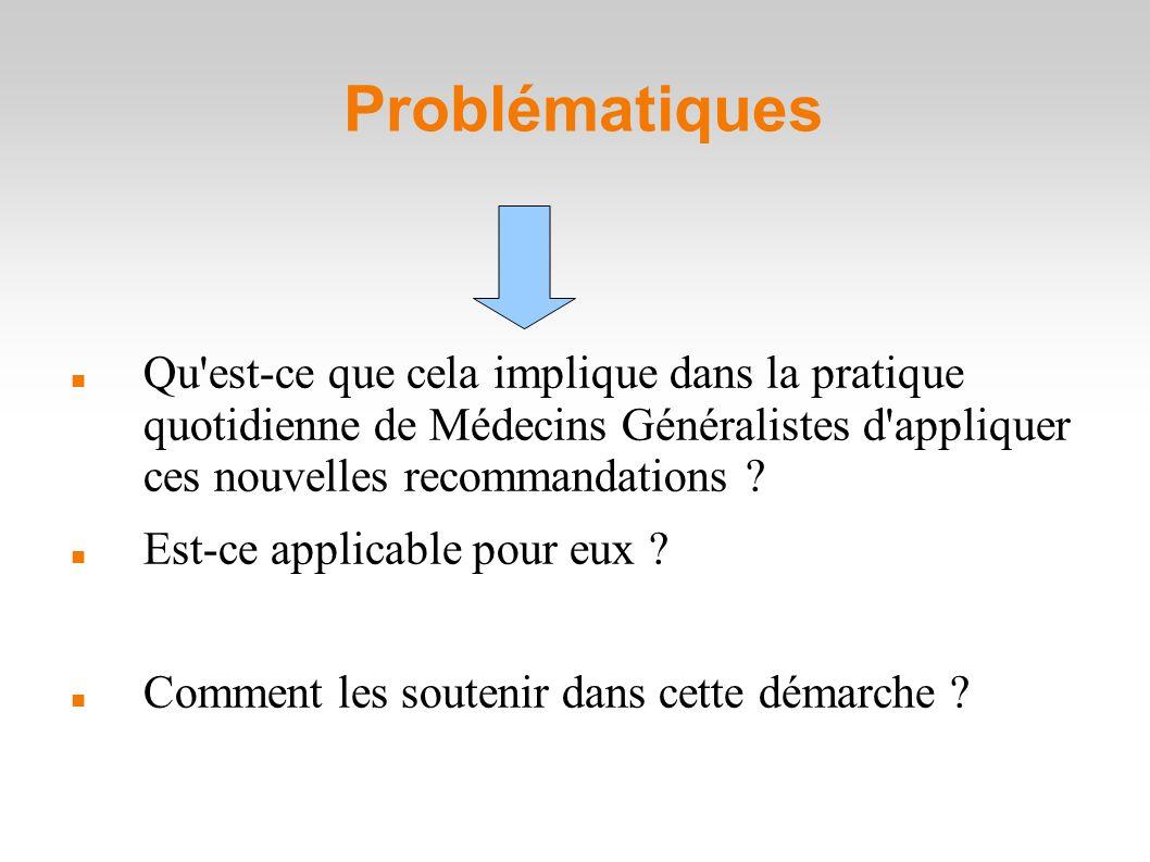 Problématiques Qu est-ce que cela implique dans la pratique quotidienne de Médecins Généralistes d appliquer ces nouvelles recommandations